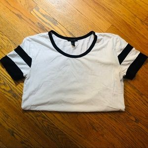 Sporty T with athletic stripes